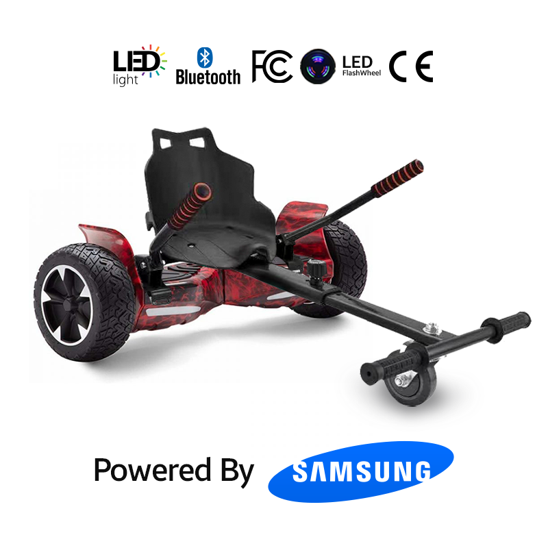 """Hoverkart Bundle Red Flame 8.5"""" Hummer Off Road Bluetooth Hoverboard"""