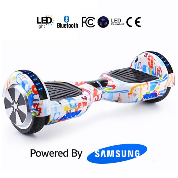 White Graffiti 6.5_ Bluetooth Hoverboard